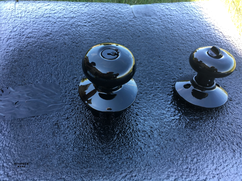Door handles after spray paint - new shiny finish. Looks brand new!