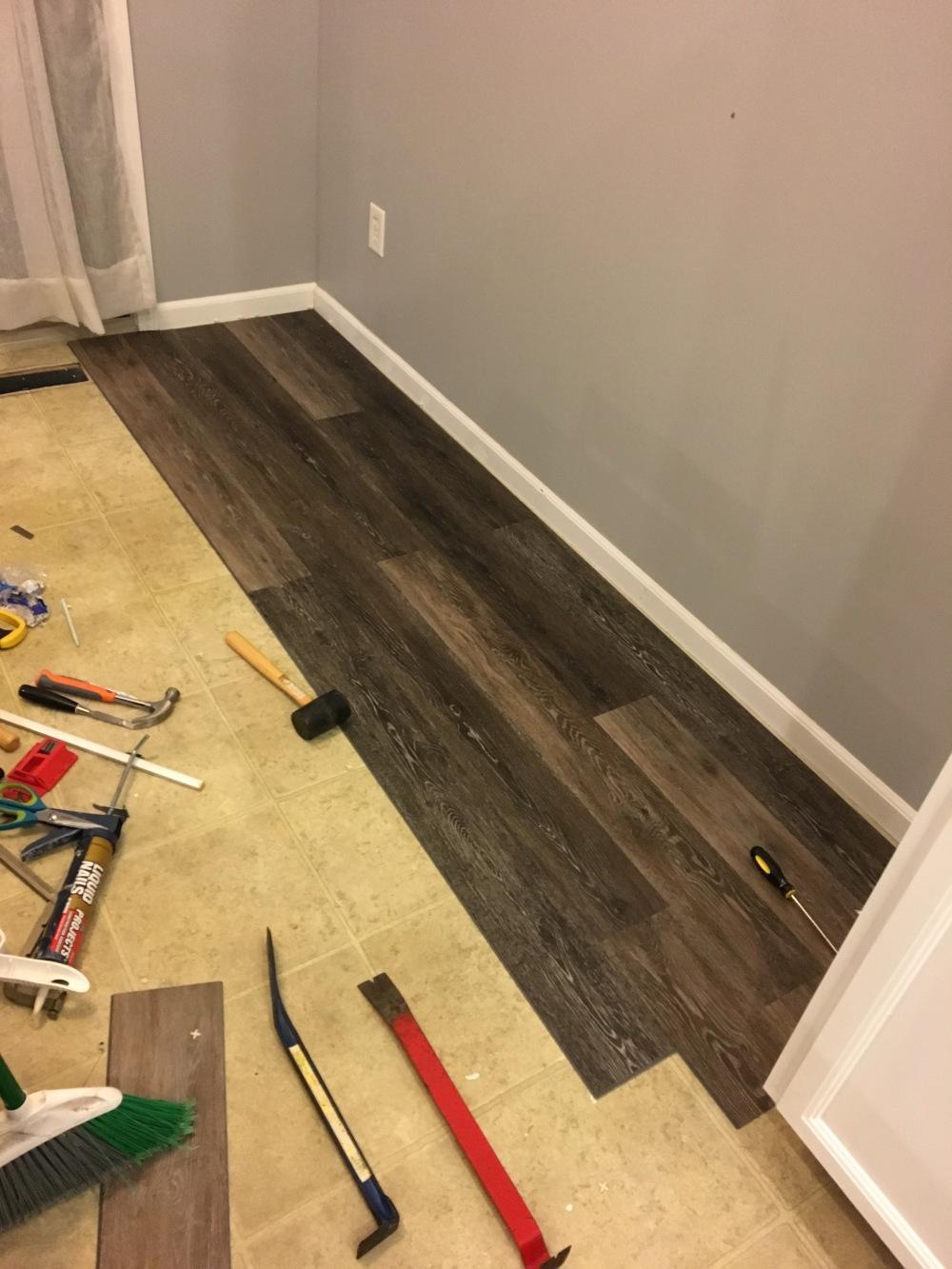 kitchen renovation, kitchen floor, laminate flooring