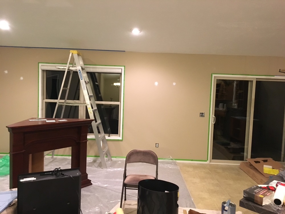 living room renovation, painting, painters tape