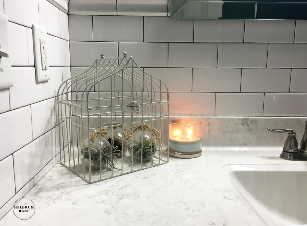 Bathroom decoration detail - rustic white birdcage with glass orbs and air plants.