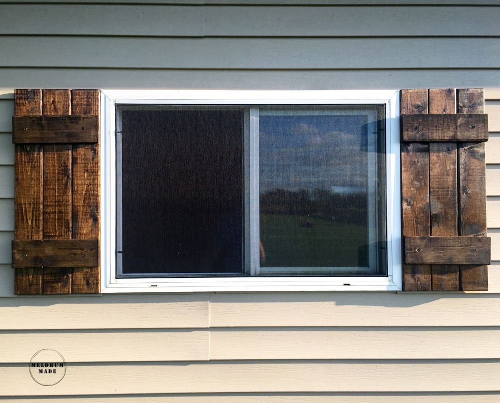 Final look - Board and Batten Shutters - entire set build for under $22!