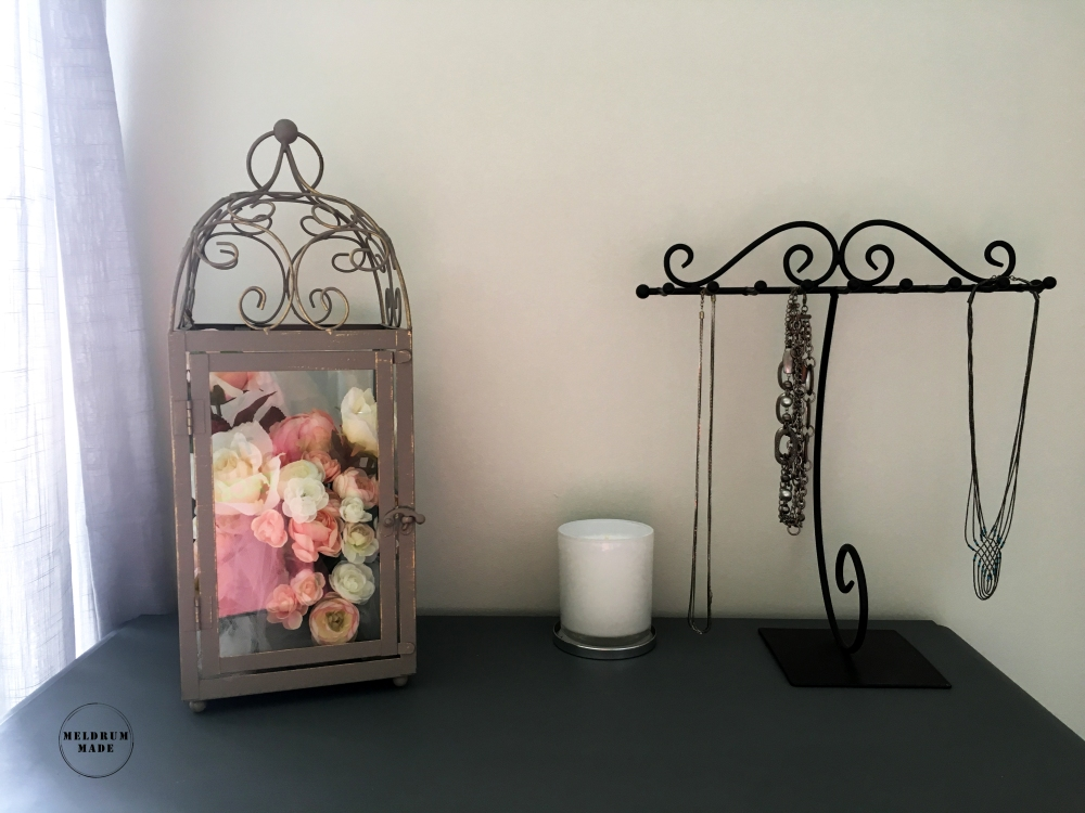 Guest room night stand update - featuring chalk painted furniture, antique books, mason jar vases, and peonies.