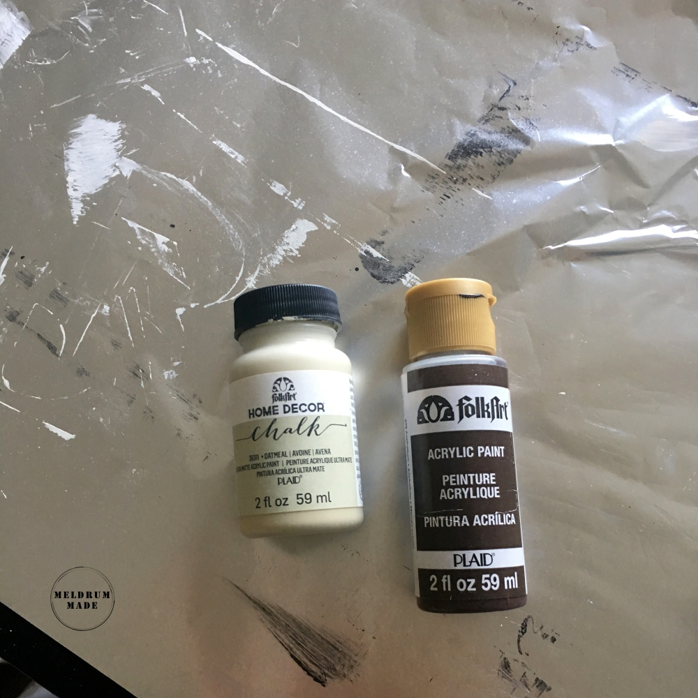 Chalk paint and acrylic paint used for the pumpkin project.