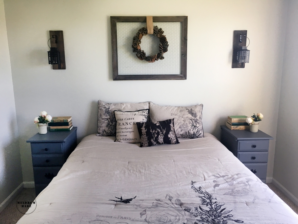 Guest Room decor update - featuring a raised bed, antique decor items, peonies, and rustic charming pieces.