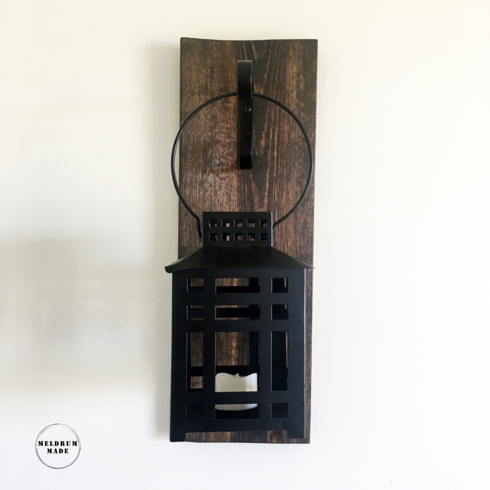 Lantern sconce - hanging lantern, walnut stain, pallet wood - available on Meldrum Made's Etsy store.
