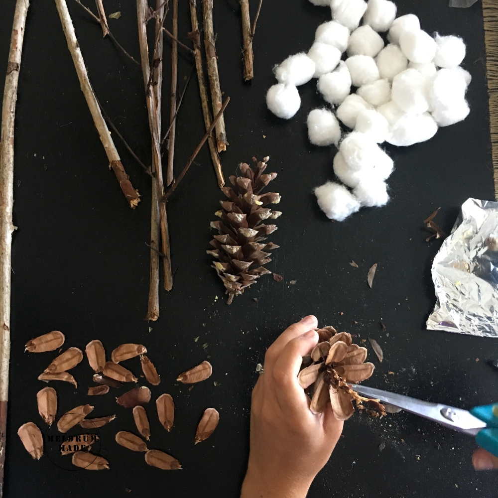 DIY Cotton Stems - removing the scales from natural pine cone scales and branches from my backyard.